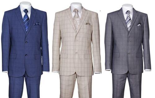 Men/'s 2 Piece Luxurious Slim Fit Suit Check Design Two Button Two Side Vents