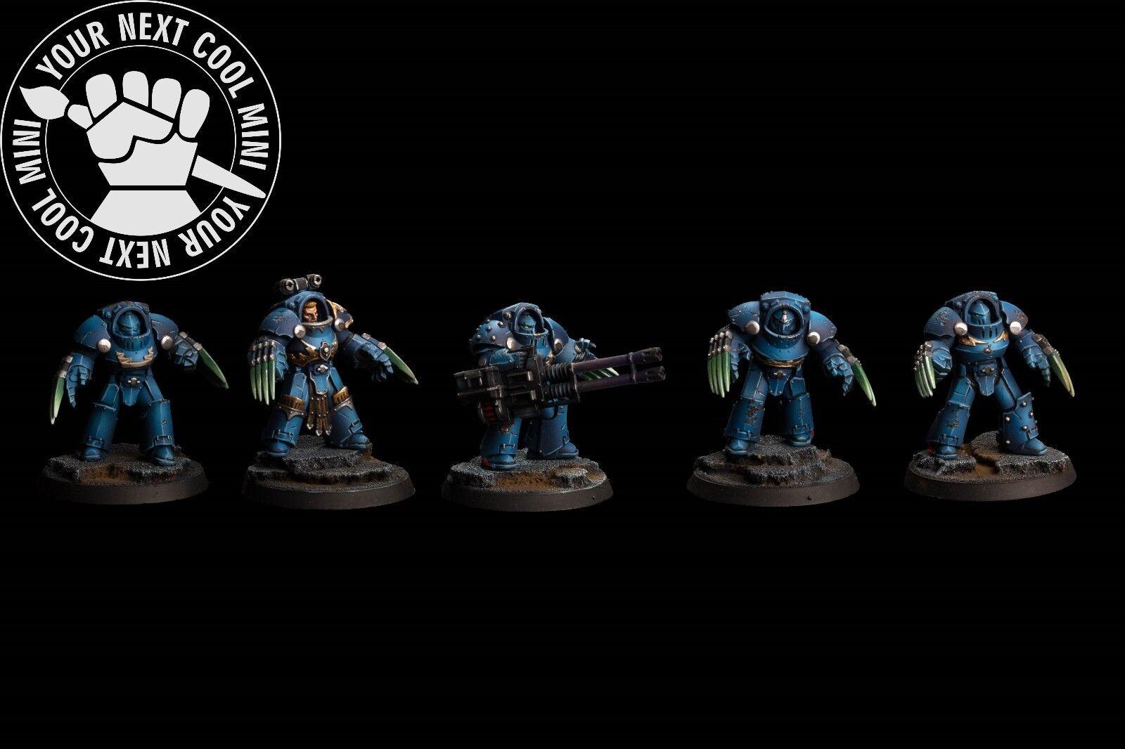 Warhammer 30K Space Space Space Marine Ultramarine Terminator Squad, 5 PRO PAINT miniatures 6db2b2
