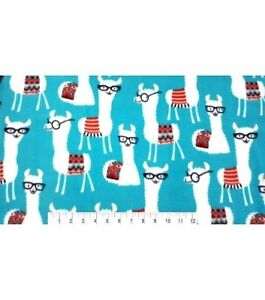 075cc0245e BTY LIBRARY WHITE LLAMAS WITH GLASSES ON TURQUOISE FLEECE FABRIC 1 ...