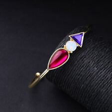 Bracelet Doré Rigide Ouvet Multicolore Rouge Violet Triangle Goutte Retro CT 8