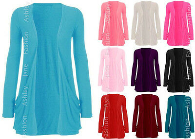 Ladies PLUS SIZE Long Sleeve Pocket Cardigan Womens Big Size Top Tshirt 16-26