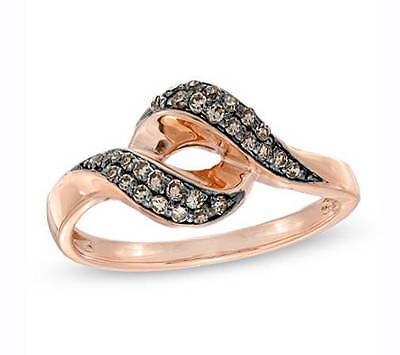 Great Design! 100% 10K Rose Gold Chocolate Brown Diamond Open Twist Ring .17ct