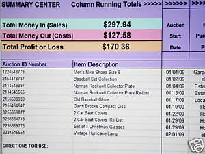 track ebay sales business accounting excel spreadsheet ebay