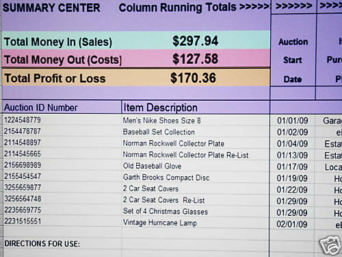 Track Ebay Sales Business Accounting Excel Spreadsheet