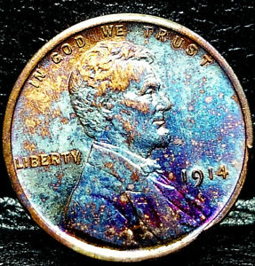 "1914 Lincoln Wheat Penny Cent- ""Beautiful Toning"" SUPERB MS GEM BU 00"