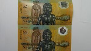 1988-Ten-Dollars-Second-Release-First-Prefix-Consecutive-Pair-Banknotes