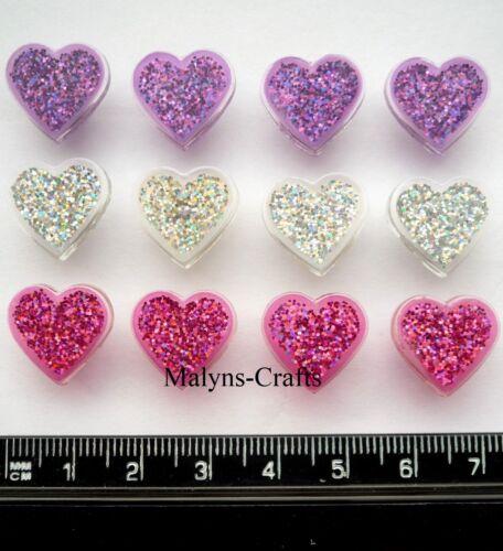 SMALL GLITTER HEARTS Craft Buttons 1ST CLASS POST Novelty Valentine DRESS IT UP