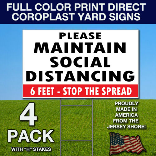 Color Flatbed Print Direct Coroplast Social Distancing Signs w// Stakes 8x12 4