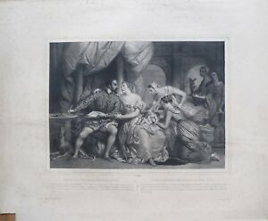 Lithographie-originale-Diane-de-Poitiers-devenue-mere-A-Deveria-1800-1857