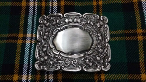 Scottish Piper Kilt Belt Buckle Scrolling Thistle Silver Antique//Kilts Buckles