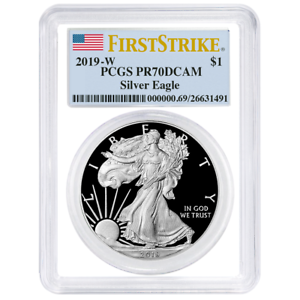 2019-W American Silver Eagle Proof PCGS PR70 DCAM First Strike Flag Label