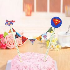 Superman Birthday Cake Banner Topper Flag Decoration Party Supplies.