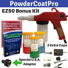 Redline Ez50 Powder Coating Cup Gun With Bonus Cups And Usa Air Adapter