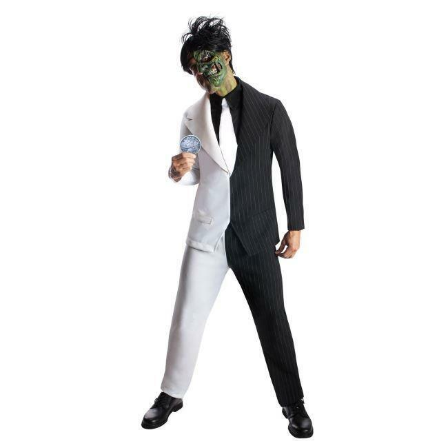 ADULTS TWO FACE BATMAN SUPER VILLAIN MENS HORROR FANCY DRESS HALLOWEEN COSTUME