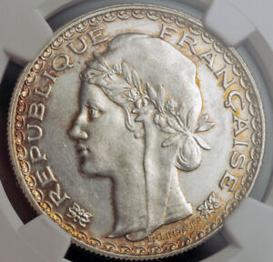 1931-French-Indo-China-Silver-Piastre-Colonial-Trade-Dollar-Coin-NGC-AU-58