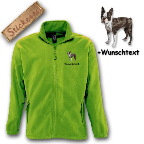 Fleece Jacke bestickt Stickerei Hund Boston Terrier M1 Wunschtext