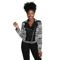 Wd.ny Woven Southwestern Zipper Detailed Printed Moto Motorcycle Jacket S L Xl