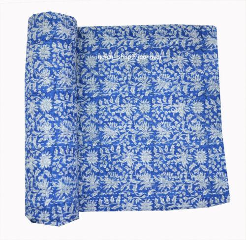 Hand Block Print Indian Kantha Quilt Twin Bedspread Throw Ralli Applique Blanket