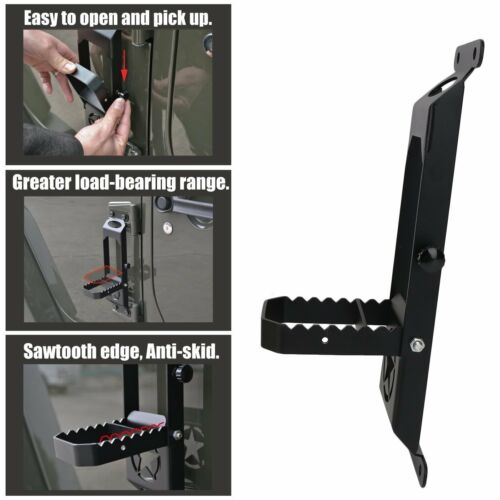 2pcs Door Hinge Step Metal Folding Foot Peg for 07-17 Jeep Wrangler JK 2//4 Doors