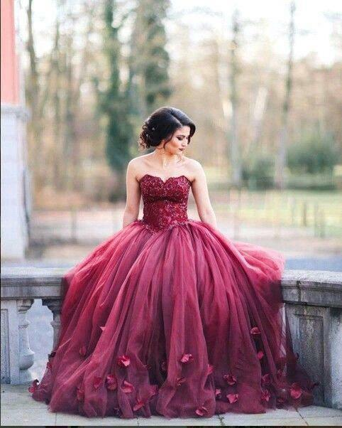 473c72fd9f6 Burgundy Ball Gown Princess Quinceanera Dresses Lace Bodice Long Prom  Dresses