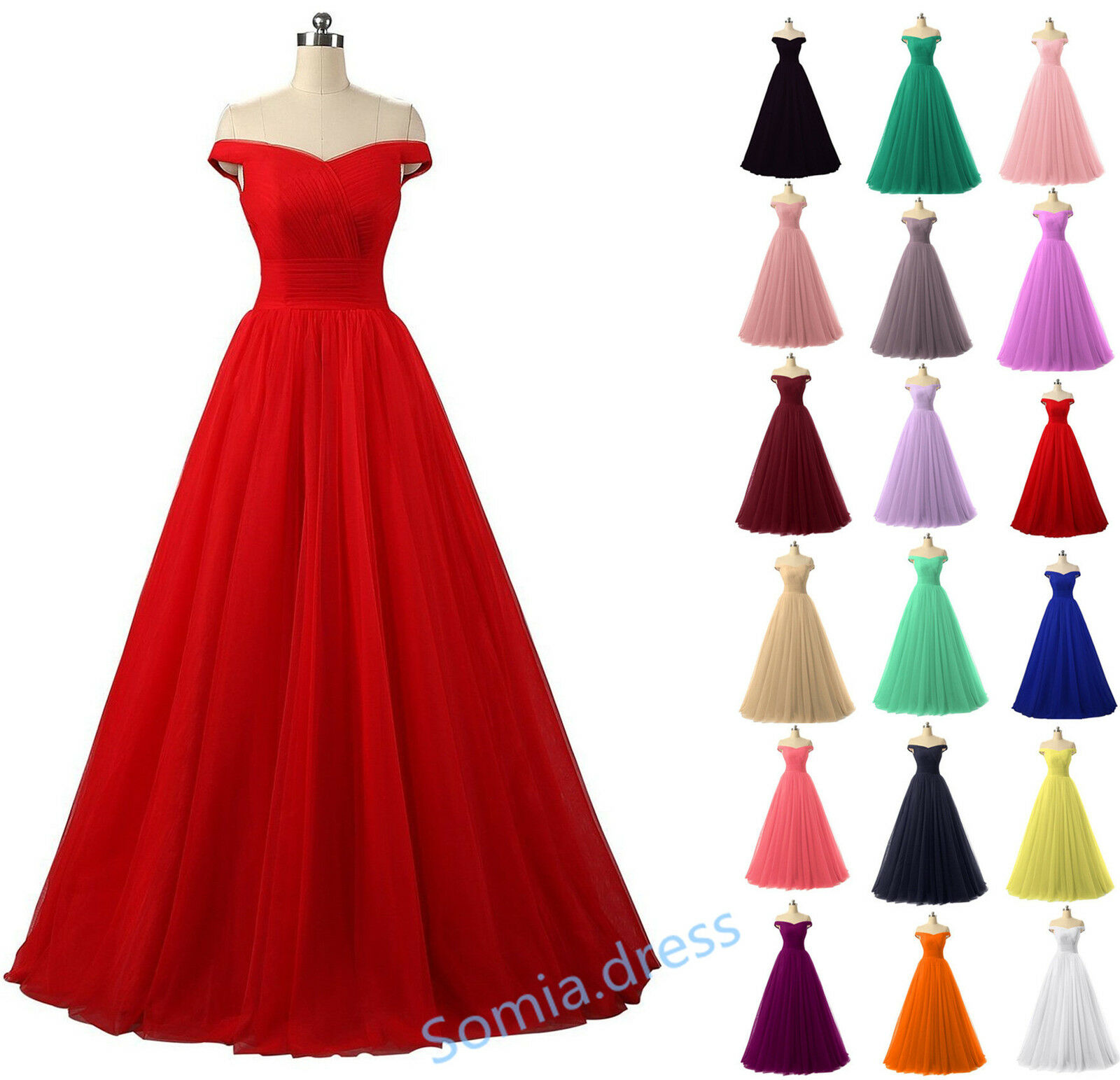 Long Tulle Cap Sleeve Bridesmaid Ball Gown Prom Evening Party Homecoming Dresses