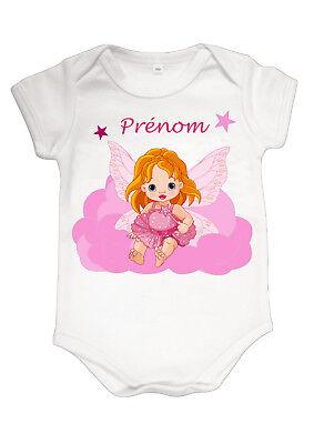 Body bébé fée fille mignon personnalisé avec prénom réf 07