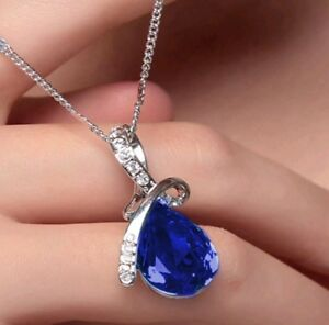 Royal-Blue-Crystal-Necklace-Love-Her-Wife-Girlfriend-Valentine-039-s-Birthday-Gift