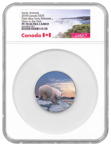 2018 Canada Arctic Northern Lights Polar Bear 2 oz Silver Glow NGC PF70 SKU52287