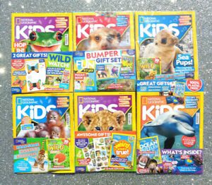 6 x NATIONAL GEOGRAPHIC KIDS MAGAZINE BACK ISSUES ~ ~  NEW WITH GIFTS ~ ~