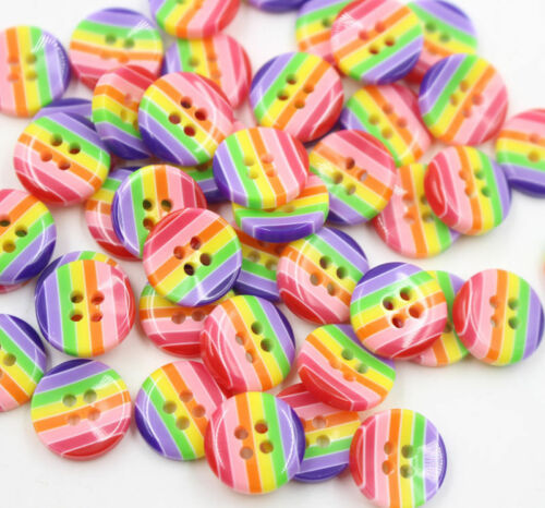 100pcs DIY Resin 4 Holes Round Pattern Buttons Sewing Clothes Accessories