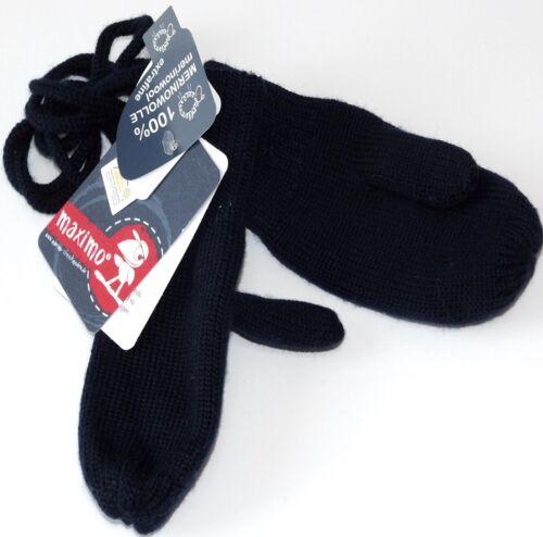 MaxiMo Fäustlinge Daumen Baby Strick Handschuhe Wolle Marine Weiß Gr 6M 1Y NeU
