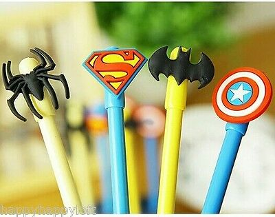 Superhero Pens School Stationery Ballpoint Boys Party Bag Fillers Batman Gifts