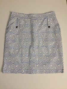 Mikarose-Pencil-Skirt-XXL-2XL-White-And-Blue-Triangles