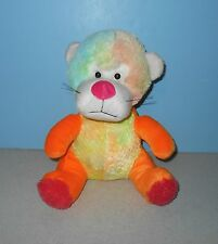 "12"" Multi Color Pastel Rainbow Orange Lion w/ Pink Nose Stuffed Plush Animal"