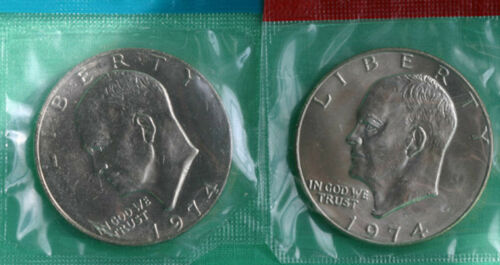 1974 P /& D Eisenhower Dollar Coins from US Mint Set BU Cellos TWO IKE $1