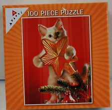 100PC CAT TREE STAR JIG SAW PUZZLE 100 PIECE USA MADE AVANTI CHRISTMAS HOLIDAY