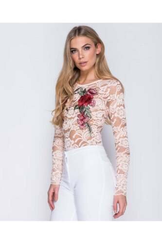 Parisian Flower Patch Embroidered Lace Long Sleeve Bodysuit Party Summer Top