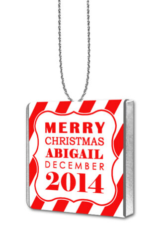 10 Personalised CANDY STRIPE Chocolate Hanging Christmas Tree Decorations Red