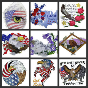 Patriotic Patch Collection No. (3)  Embroidered Iron On Patches