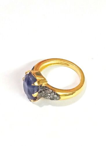 925 Fine Silver Natural Blue Sapphire /& pave Diamond Oval Shape Stone Ring