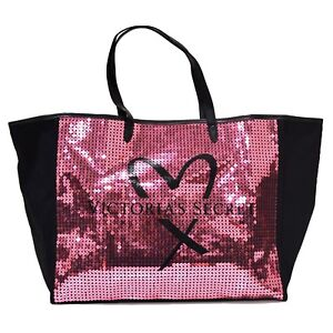 cd59af1b50696 Victoria s Secret Tote Bag Bling Sequins Pink Black Heart Large ...