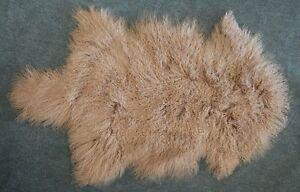 TIBET-peau-de-mouton-d-039-agneau-comme-Gotland-marron-beige-Colore-De-La-Tannerie