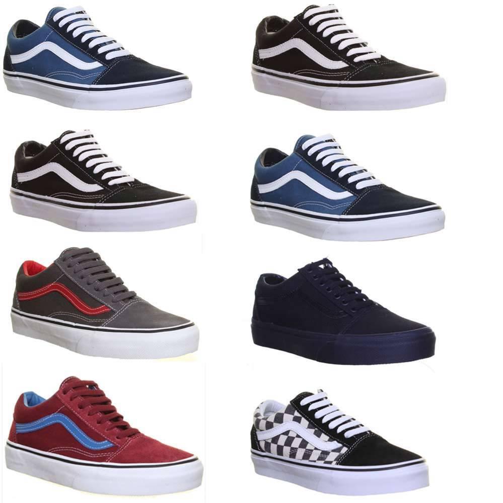 Vans Old Skool Schwarz WeiB Plimsolls Leinen Skate Sneakers GroBe 3 - 6
