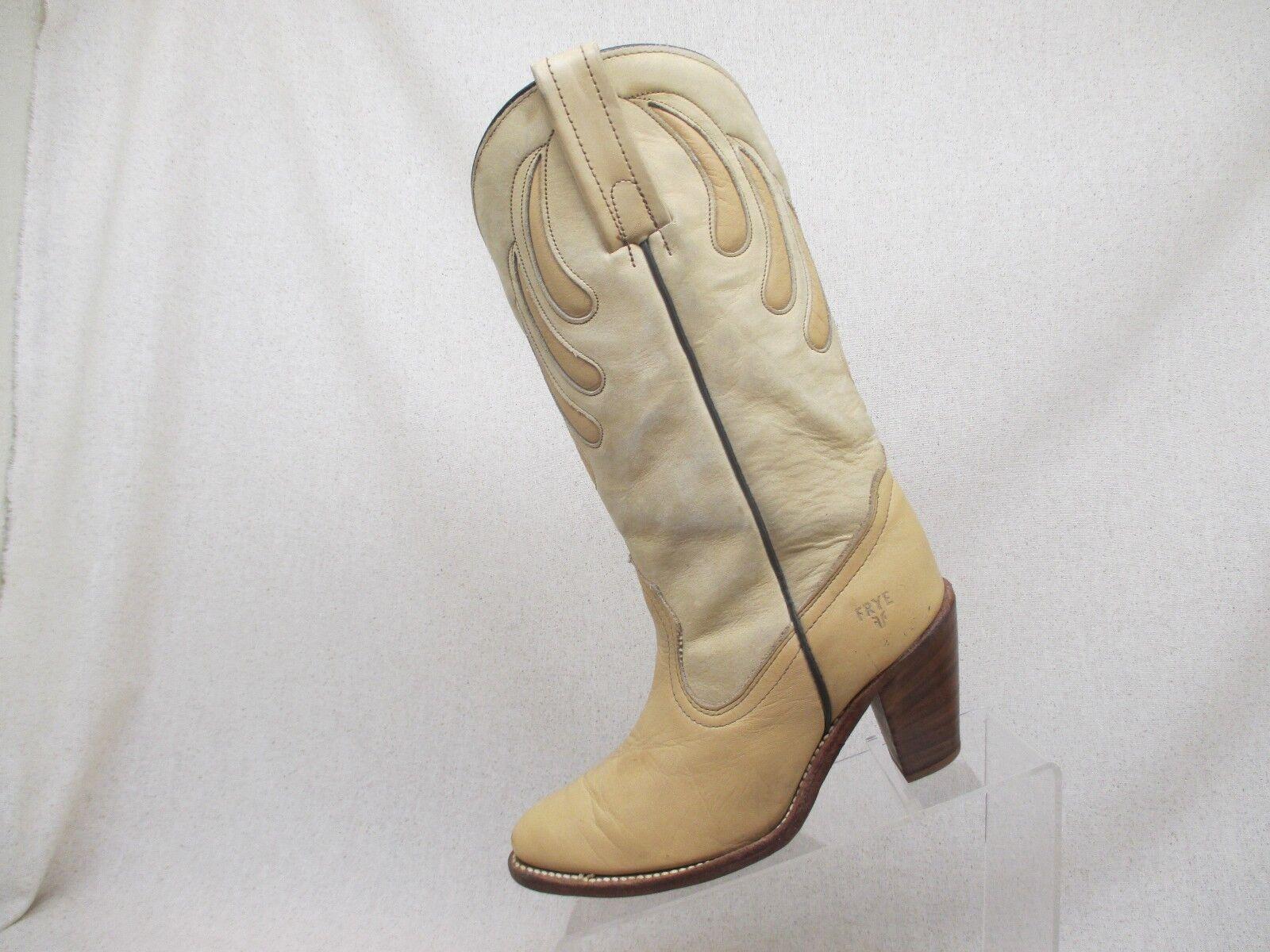 Frye Peach & Cream Leather Heeled Inlay Cowboy Western Boots Size 7 B N28266 USA