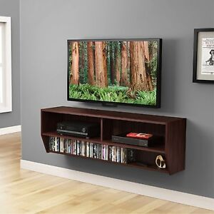 Walnut 48 Inch Floating Wall Mount Tv Stand With Shelf Console