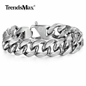 14-5mm-Mens-Cuban-Curb-Link-Bracelet-Silver-316L-Stainless-Steel-Chain-Jewelry