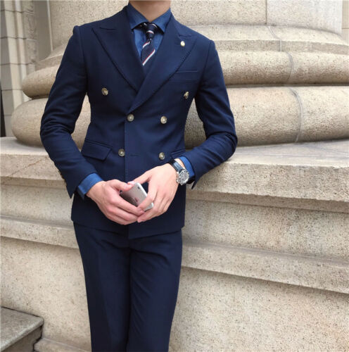 Men/'s Double-breasted Navy Blue Suits Jacket+Pant Formal Party Sports Suits