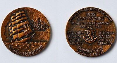 Medaille Bronze Finnland T/s Suomen Joutsen Training Ship Finnish Navy