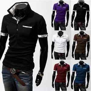 Camicia-Uomo-Stile-Polo-Slim-Manica-Corta-Plaid-V-Collo-Tops-T-Shirt-Estiva