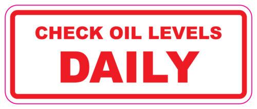 Compruebe los niveles de aceite diario-coche//van//Camión//Wagon Pegatinas 100x40mm X 2 Pack